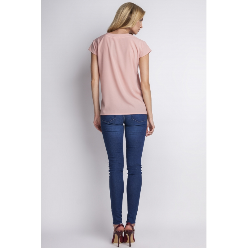 Bluza roz cu nasturi Carine