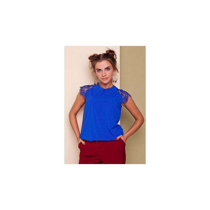 Bluza albastra cu broderie Karlie