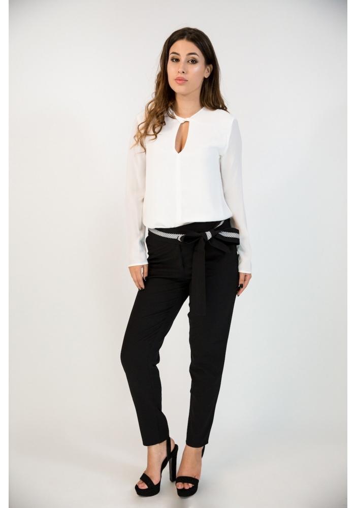 Pantaloni negri cu funda Smaranda