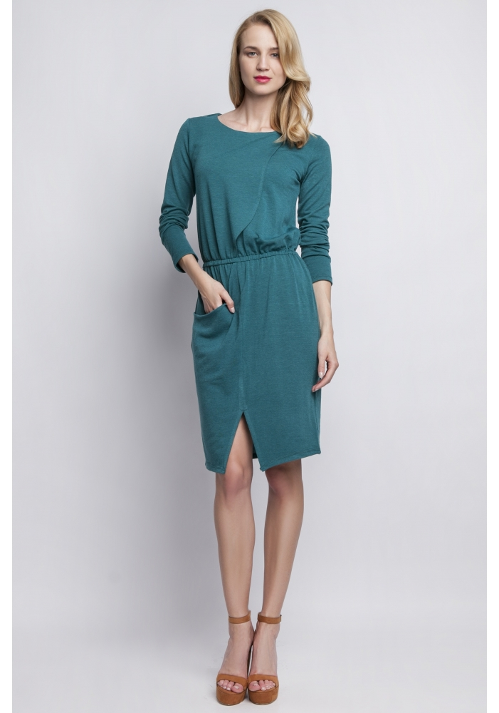 Rochie verde tricot Minodora