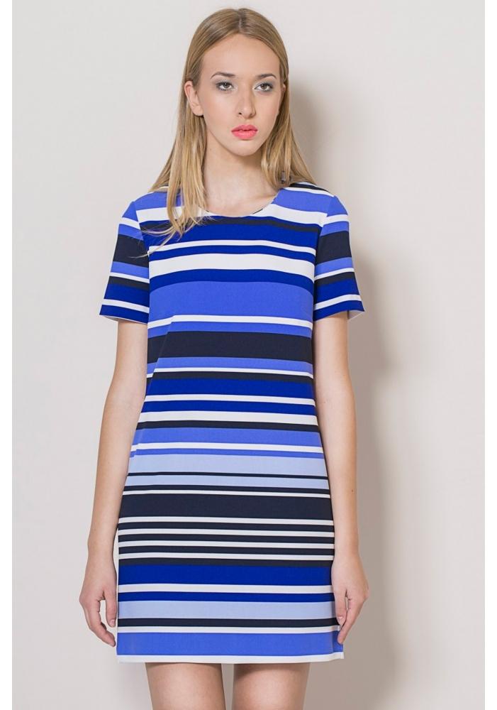 Rochie albastra maneca scurta Stripe