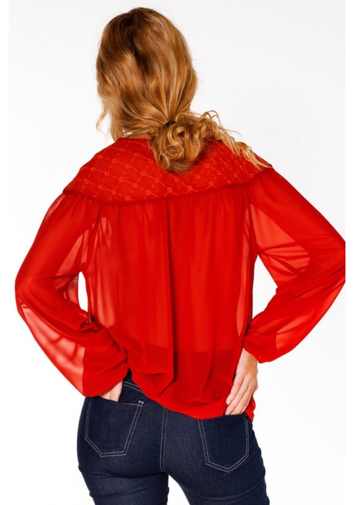 Bluza brodata rosie Lana