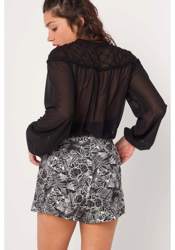 Bluza neagra din voal Liana