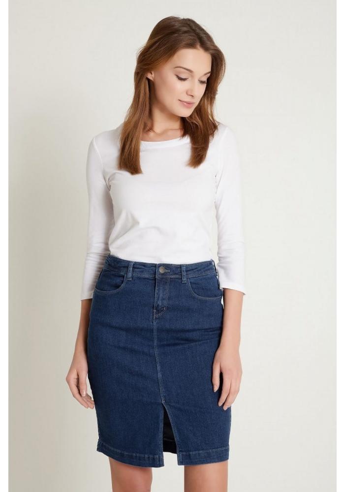 Fusta jeans slit in fata Carrie