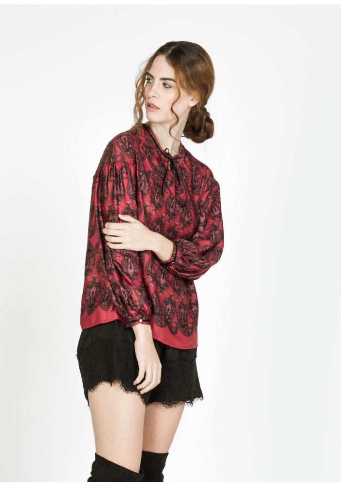 Bluza cu print satinata Allie
