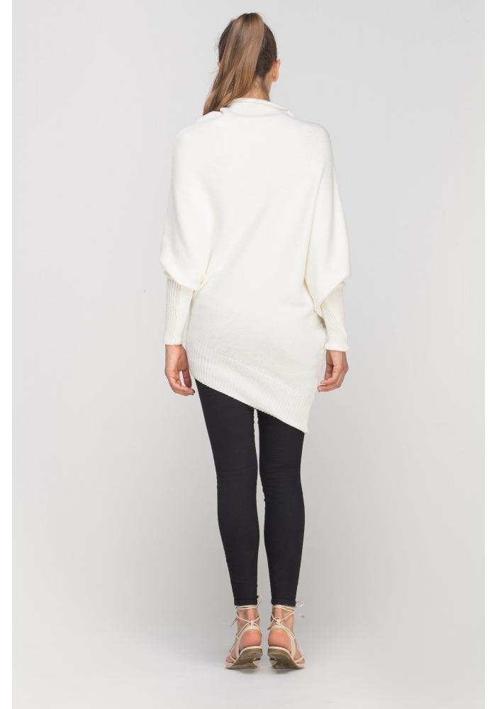 Pulover alb asimetric Rhea