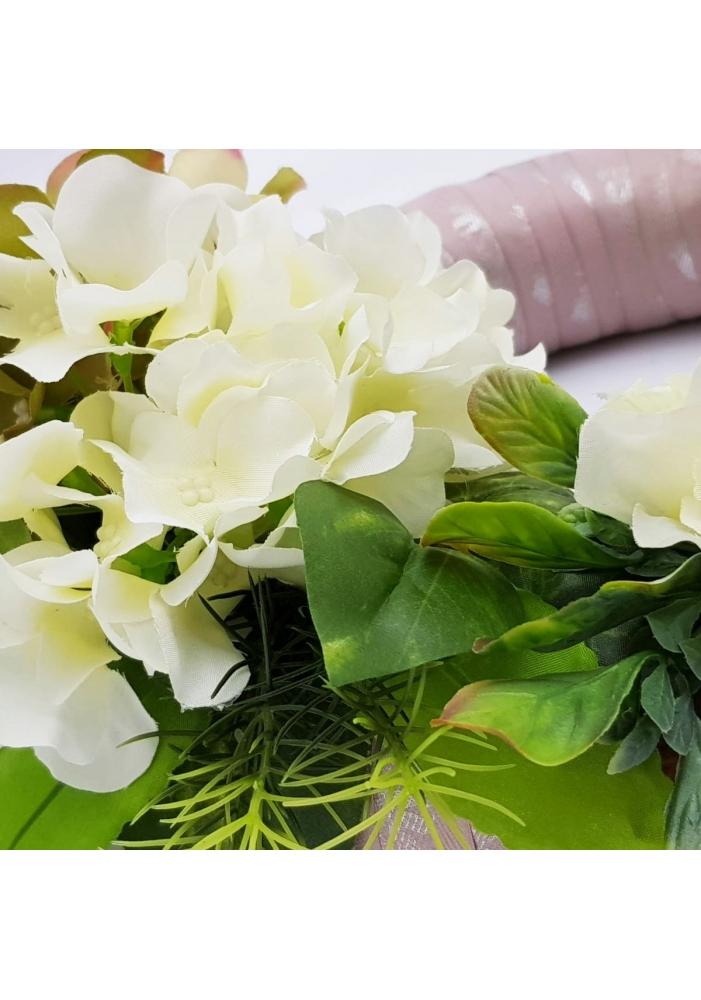 Coronita decorativa hortensii si verdeata pentru casa