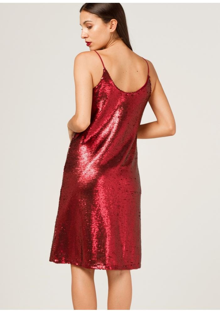 CLP - Rochie cu paiete rosii si bretele subtiri