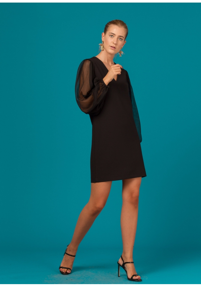 CLP - Rochie neagra mini cu maneci din voal