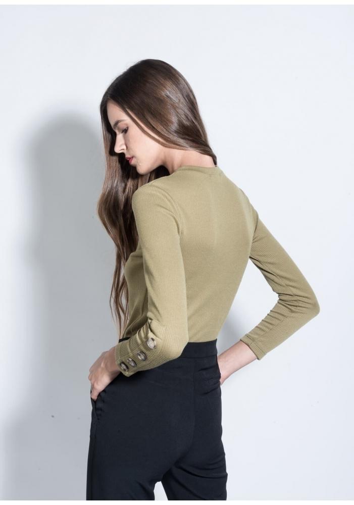 CLP - Pulover tricotat verde cu nasturi la maneca