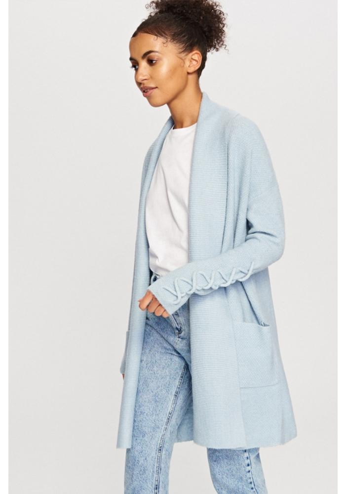 Cardigan albastru cu buzunare