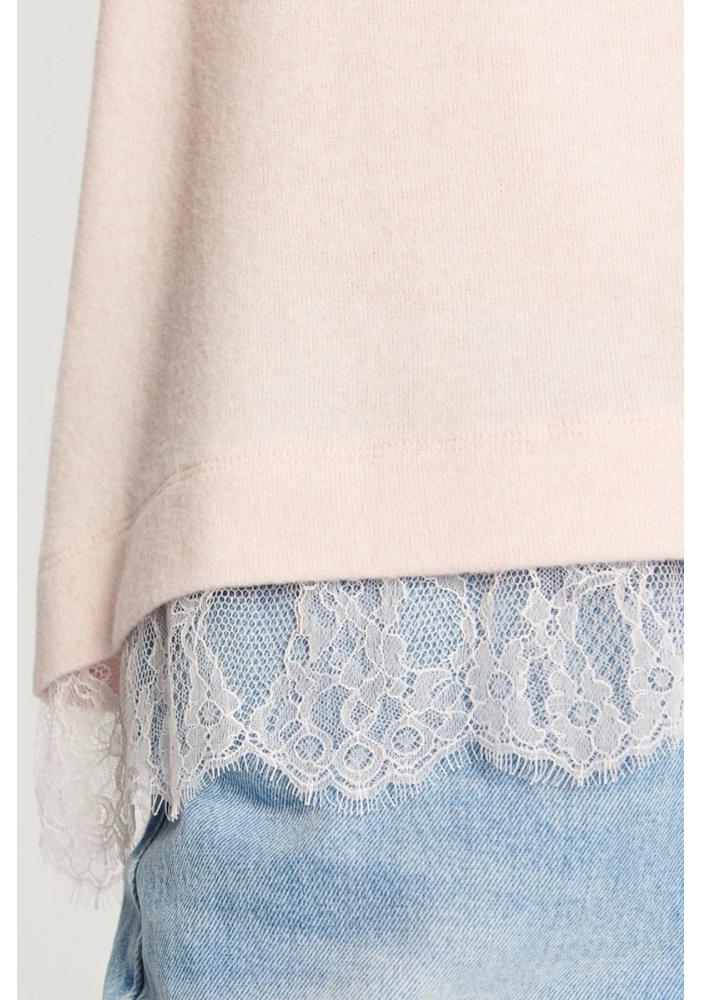 RESERVED - Pulover roz cu dantela la baza
