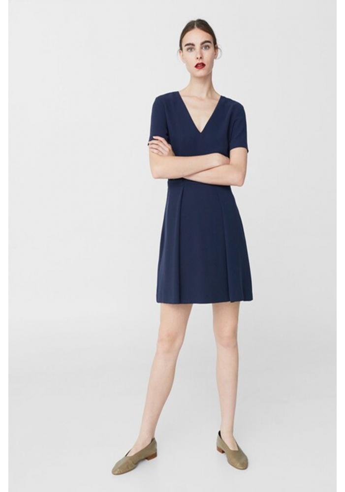 MANGO - Rochie scurta albastra cu pliseuri