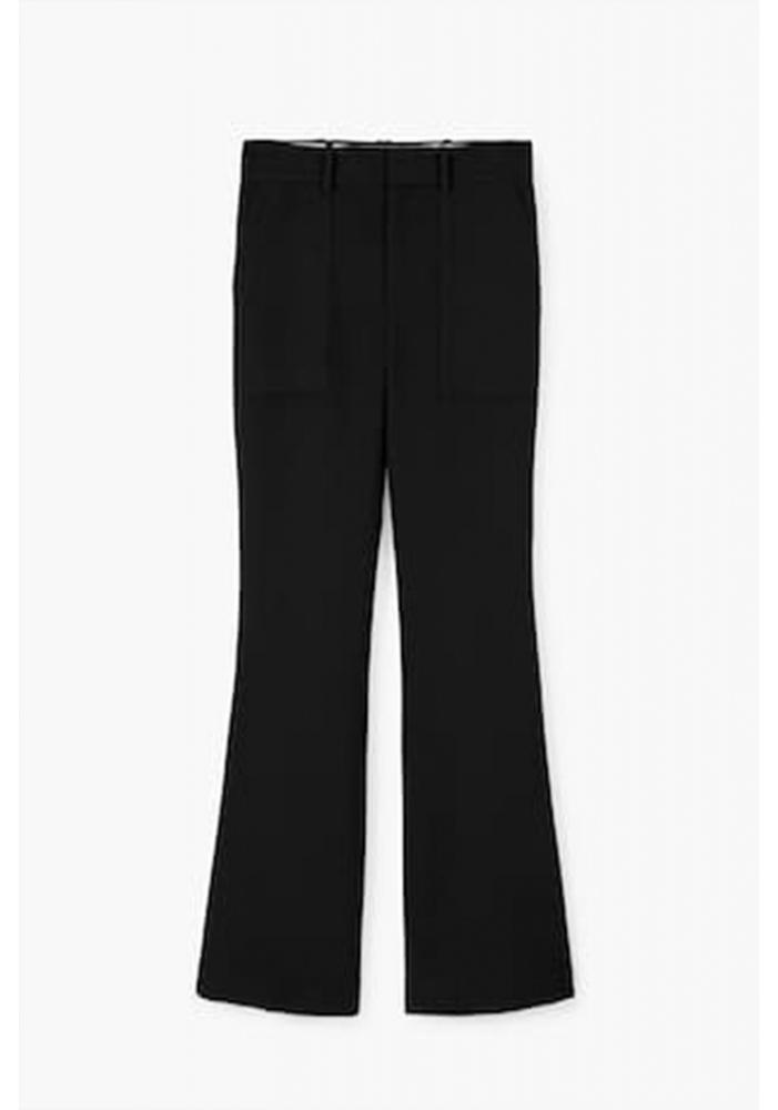 MANGO - Pantaloni evazati negri office