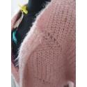 VERO MODA - Cardigan roz pufos cu ochiuri mari