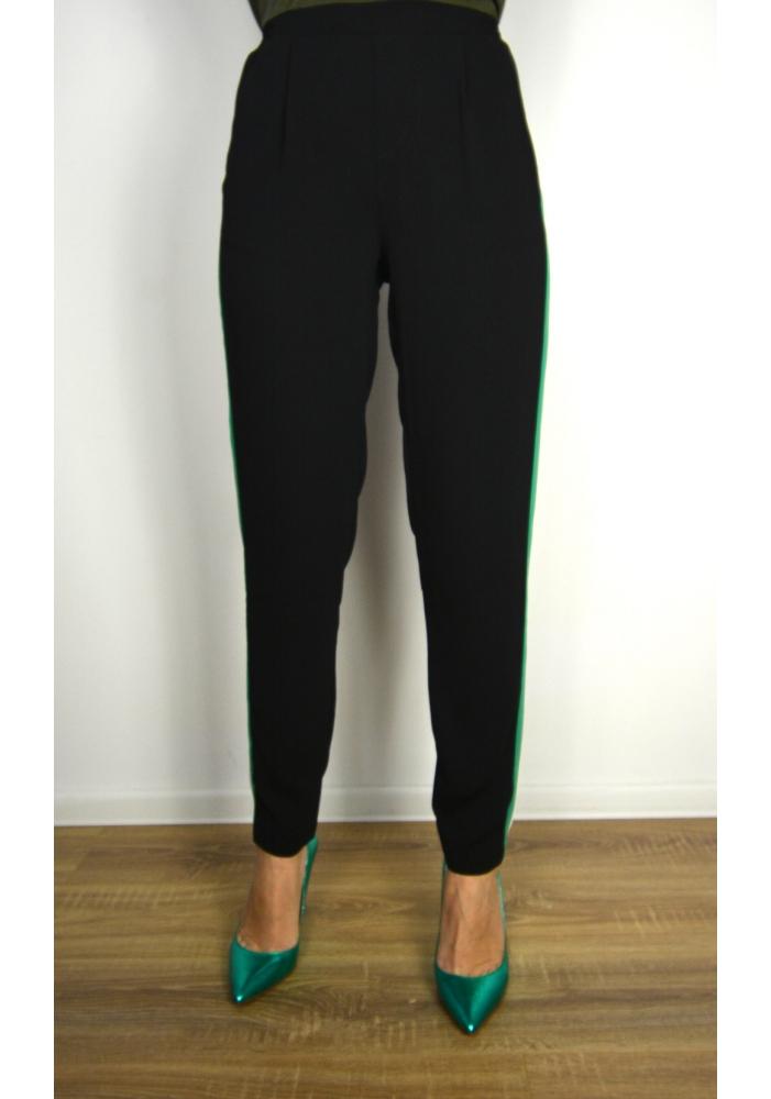CLP - Pantaloni sport conici cu dunga verde