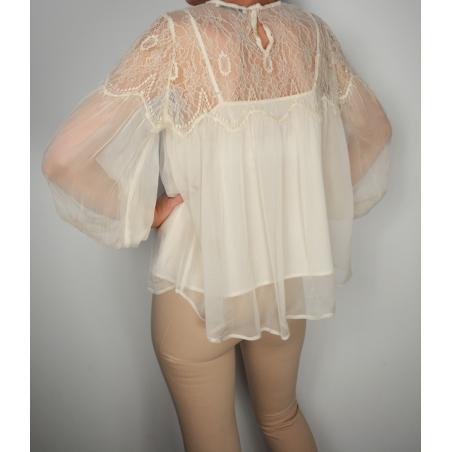 MANGO - Bluza dama voal alba