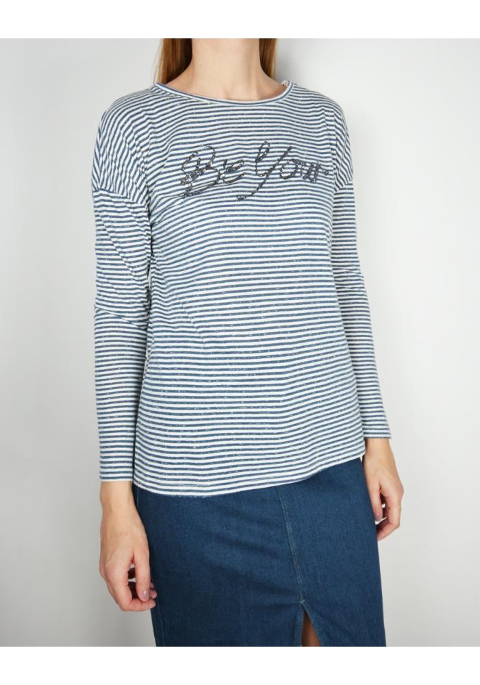 OCTOBER - Bluza dama cu dungi albastre
