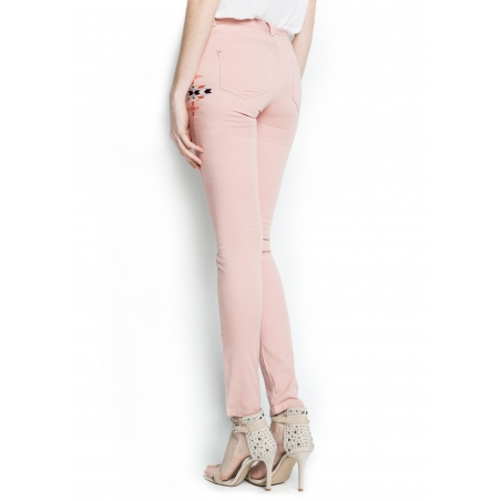 MANGO - Pantaloni slim fit cu imprimeu roz