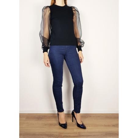 ONLY - Bluza neagra elastica cu maneci din tul