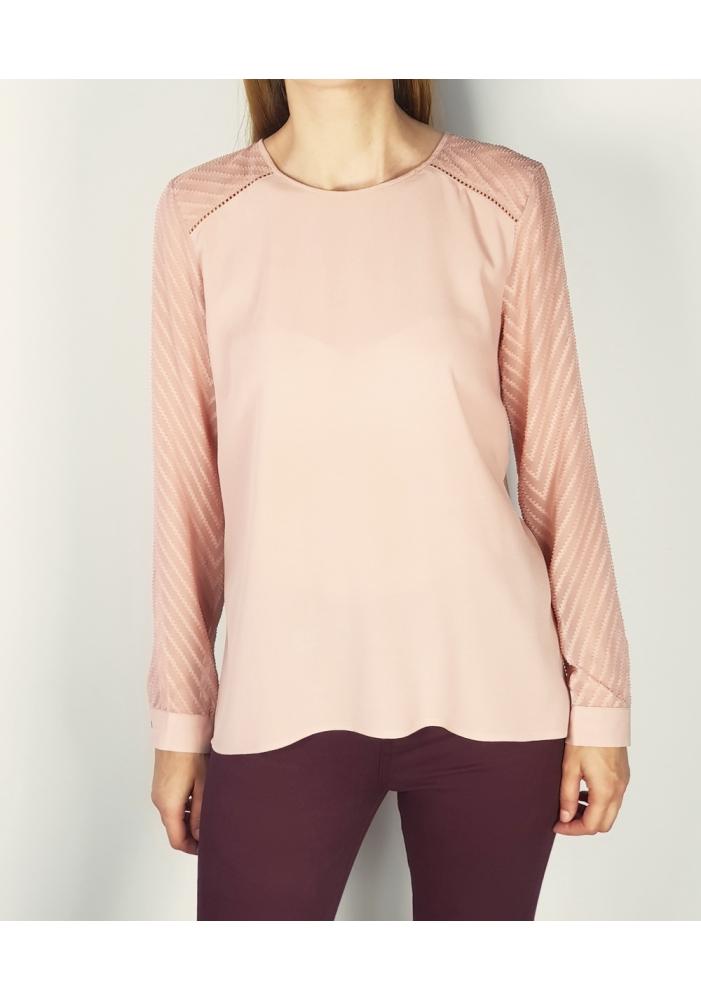 OBJECT - Bluza roz cu maneci dantelate
