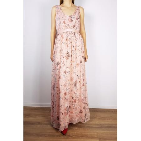 VILA CLOTHES - Rochie lunga din voal roz