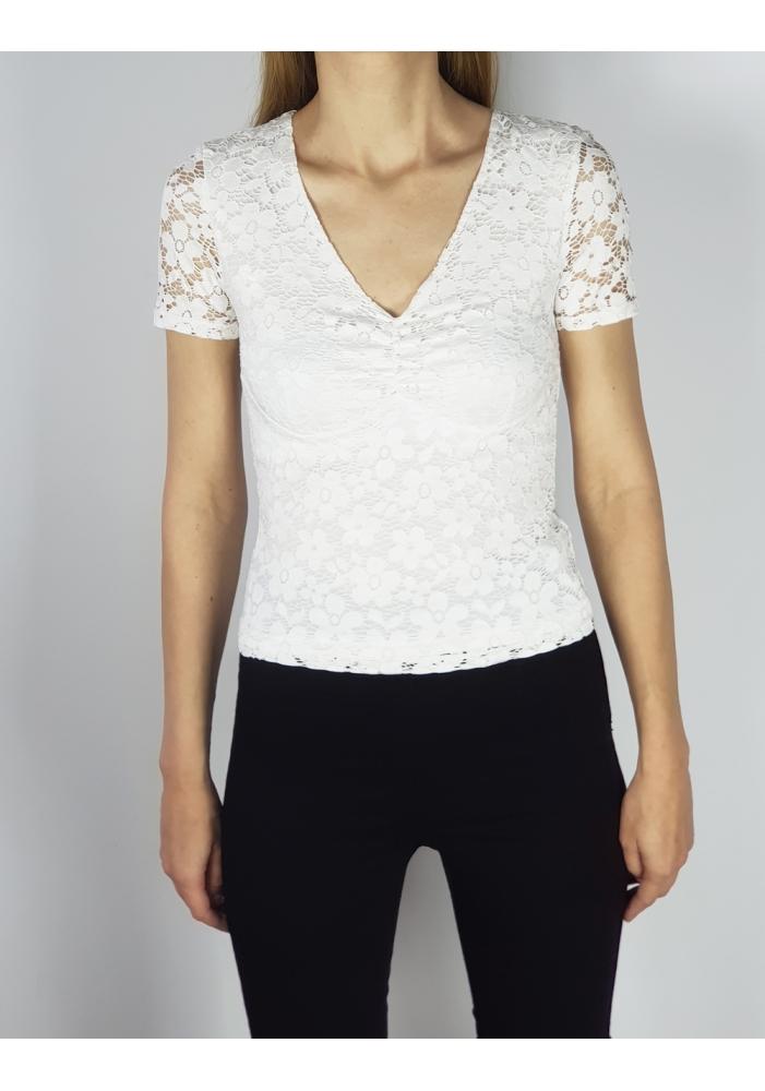 ONLY - Tricou alb dantelat