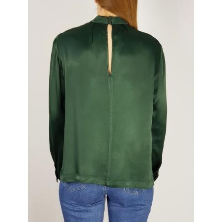SELECTED - Bluza verde satinata guler tunica