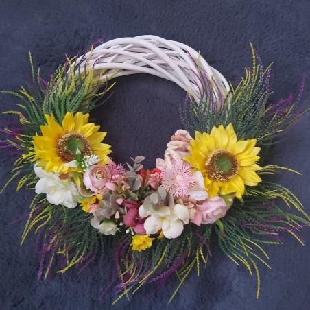Coronita decorativa ratan cu flori