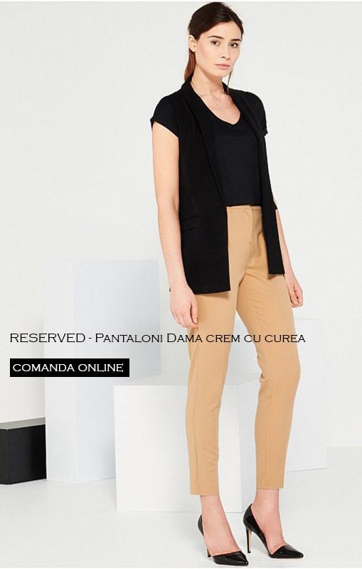 pantaloni dama crem